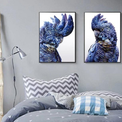 Black Cockatoo Pair Wall Art Canvas print