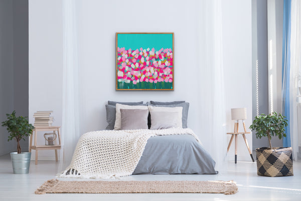 Abstract Springtime Turquoise Wall Art Canvas Print