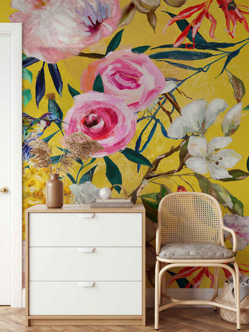Floral patterned yellow wallpaper