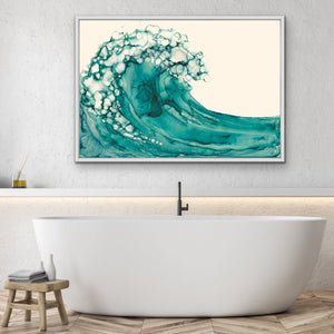A Rolling Wave - Green Watercolour Canvas Wall Art Prints I Heart Wall Art Australia