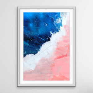 An Awesome Wave -Abstract Blue Pink Art Print Stretched Canvas Wall Art I Heart Wall Art Australia