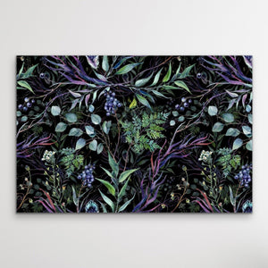 Australian Forest - Dark Blue and Green Foliage Stretched Canvas Print I Heart Wall Art Australia