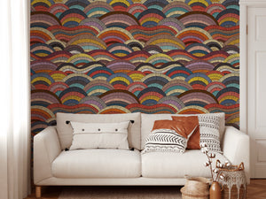 Bohemian Waves - Boho Stripey Colourful Wallpaper I Heart Wall Art Australia