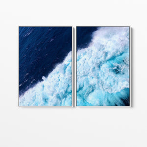 Breaking Wave - Two Piece Ocean Wave Blue Stretched Canvas Framed Wall Art I Heart Wall Art Australia