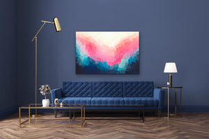 Cut Gems -Abstract Blue Pink Art Print  Stretched Canvas Wall Art I Heart Wall Art Australia