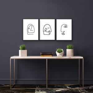 Down The Line - Three or Six Piece Original Face and Body Line Drawings I Heart Wall Art Australia