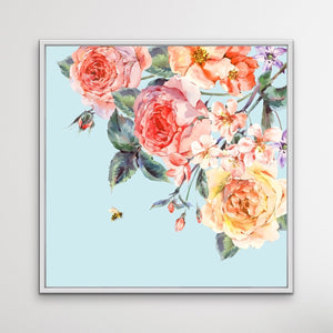 English Country Garden - Blue Floral Canvas Print I Heart Wall Art Australia