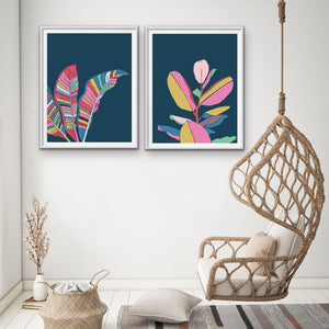 Fiddle Leaf and Banana Palm - Two Piece Turquoise Pink Contemporary Graphic Canvas Framed Wall Art Prints I Heart Wall Art Australia