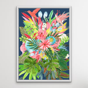 Garden Of Eden In Blue - Tropical Jungle Watercolour Print Stretched Canvas Wall Art I Heart Wall Art Australia