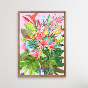 Garden Of Eden In Pink - Tropical Jungle Watercolour Print Stretched Canvas Wall Art I Heart Wall Art Australia