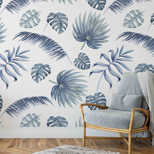Hamptons Monstera - Classic Coastal Navy Blue Wallpaper With Watercolour Monstera Leaves I Heart Wall Art Australia
