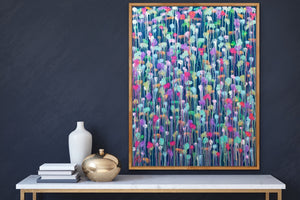 Helen Joynson - Another Dimension - Green and Pink Abstract Canvas Wall Art Print I Heart Wall Art Australia