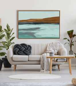 Inlet - Ochre Green Blue Boho Landscape Canvas or Art Print I Heart Wall Art Australia