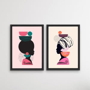 Mother Africa - Two Piece Bright Woman Colourful Geometric Boho Art or Canvas Prints I Heart Wall Art Australia