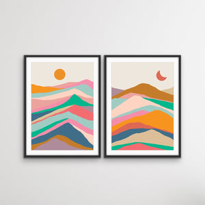Mountain Pass - Two Piece Colourful Landscape Geometric Print Set I Heart Wall Art Australia