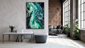 Ocean Wake - Green Turquoise Ocean Aerial Art Print Stretched Canvas Wall Art I Heart Wall Art Australia