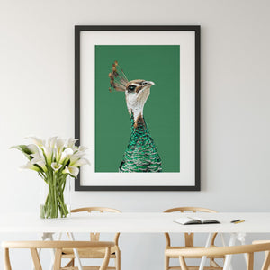 Pea Hen - Green Stretched Canvas Wall Art Peahen/Peafowl Bird Australia Cheap Wall Art Australia