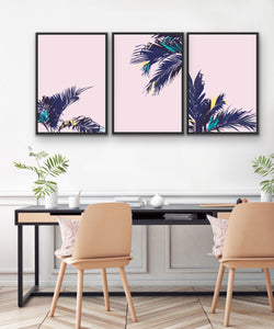 Pink Palms - Three Piece Pink and Green Palm Graphic Wall Art I Heart Wall Art Australia
