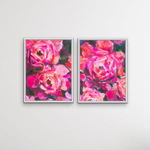 Pink Peony Pair - Two Piece Pink Peony Floral Oil Painting on Stretched Canvas Framed Wall Art I Heart Wall Art Australia