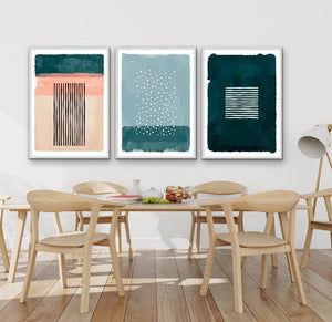 Point Of View - Three Piece Geometric Green Teal and Pink Wall Art Print Set I Heart Wall Art Australia