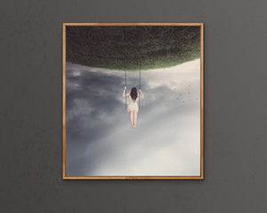 Swing Time - Woman On Swing Surreal Art Print  Wall Art Canvas Cheap Wall Art Australia
