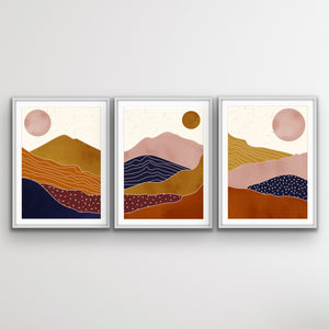 The Layers Of Earth - Abstract Boho Three Piece Print Set I Heart Wall Art Australia