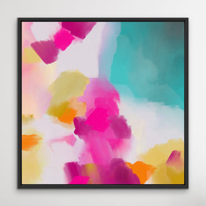 Tropical Shores - Abstract Pink and Turquoise Ocean Canvas Artwork Wall Art Print I Heart Wall Art Australia