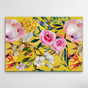 Walk In the Garden In Yellow - Bright Floral Artwork With Flowers Oil Painting Wall Art Print I Heart Wall Art Australia
