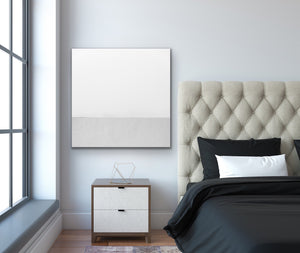 White Whispers - Square Abstract White Grey Geometric Wall Art Canvas Print I Heart Wall Art Australia
