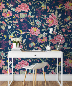 Wild Garden - Bold Blue and Pink Asian Inspired Wallpaper I Heart Wall Art Australia