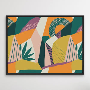 Wilderness- Green Orange Jungle Foliage Monstera Graphic Wall Art Print  on Canvas I Heart Wall Art Australia