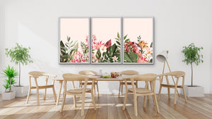 Down The Path - Three Piece Floral Pink Painted Canvas Wall Art Print s - I Heart Wall Art Australia
