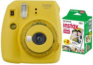 Fujifilm instax Mini 9 Instant Camera (Yellow) with Film Pack (20 Sheets) Bundle (2 Items)