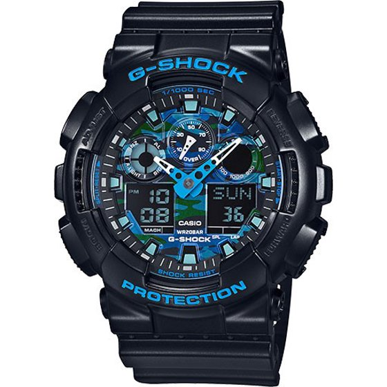 G-Shock Black and Blue Ana-Digi Sports Watch GA100CB-1A