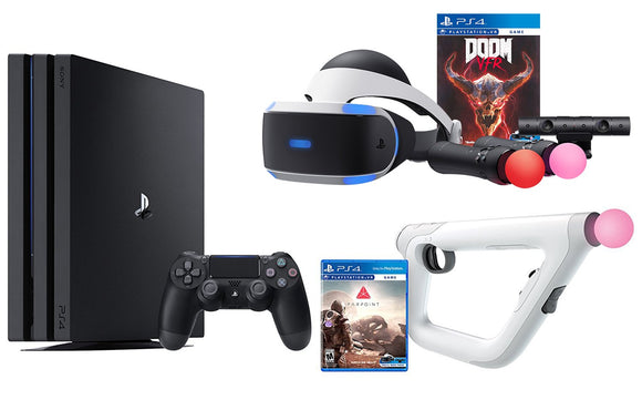 PS4 Shooter Bundle (6 Items): PlayStation 4 Pro 1TB Console, VR Headset, Farpoint Aim Controller Bundle, PSVR Doom Game, Playstation Camera, and 2 Move Motion Controllers