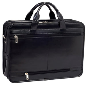 "McKlein 17"" Elston Double Compartment Leather Laptop Case, Black"