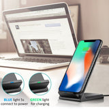 2 Coils Qi Wireless Fast Charger Charging Stand Dock Pad for iPhone X 8 /Plus Samsung S8 S7 Edge Note 8