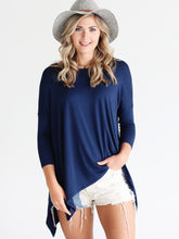 Load image into Gallery viewer, Navy Dlmn Handkerchief Top