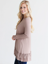 Load image into Gallery viewer, Taupe Dlmn Double Ruffle Tunic