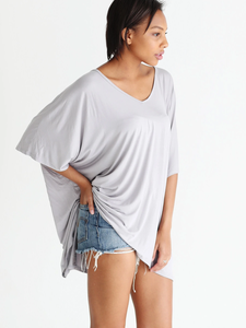 Dove Gray Dlmn Slouchy Oversized Top