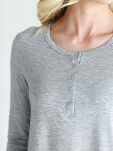 Heather Gray Dlmn Long Sleeve Henley Top