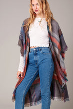 Load image into Gallery viewer, Multi Color Jacquard Plaid Long Kimono