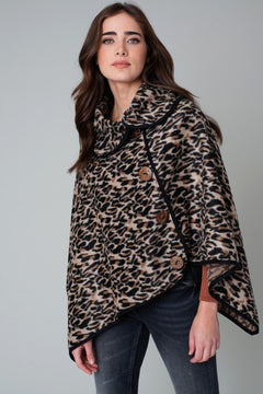 Leopard Button Deco Poncho