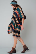 Load image into Gallery viewer, Ethnic Striped Fringed Kimono