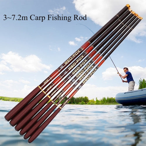 Goture 1 Pc 10 to 24 ft  Telescopic Fishing Rod Light Portable Fishing Pole Carbon Fiber Stream Rod for Carp Bass Long Hand Poles - OhCoolstule