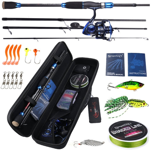 OhCoolstule™ Spinning Rod Baitcasting Reel with Fishing Line Baits Accessories Lure Fishing Full Set - OhCoolstule