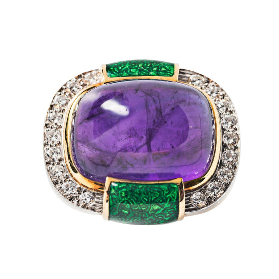 David Webb Amethyst, Diamond, Green Enamel and 18k Yellow Gold Ring