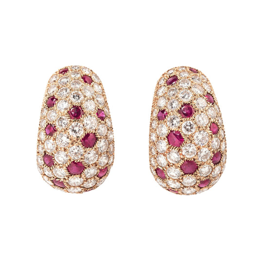 Cartier Ruby and Diamond Earrings