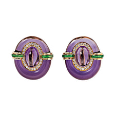 David Webb Amethyst, Diamond, Green Enamel and 18k Yellow Gold Ear Clips