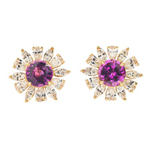 Modern Pink Sapphire and Diamond Earrings